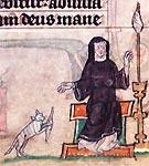 Afbeelding van een kat in een Middeleeuws kunstobject