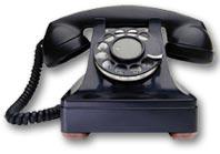 Ouderwetse, zwarte telefoon