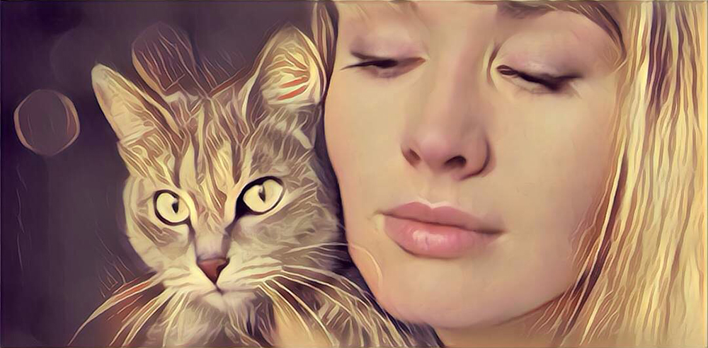 Verzorging - vrouw met kat