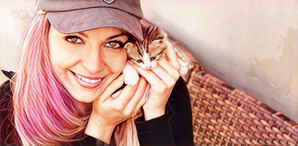 Meisje met kitten