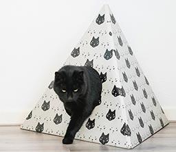 Lederlook kattenhuis met kussentje